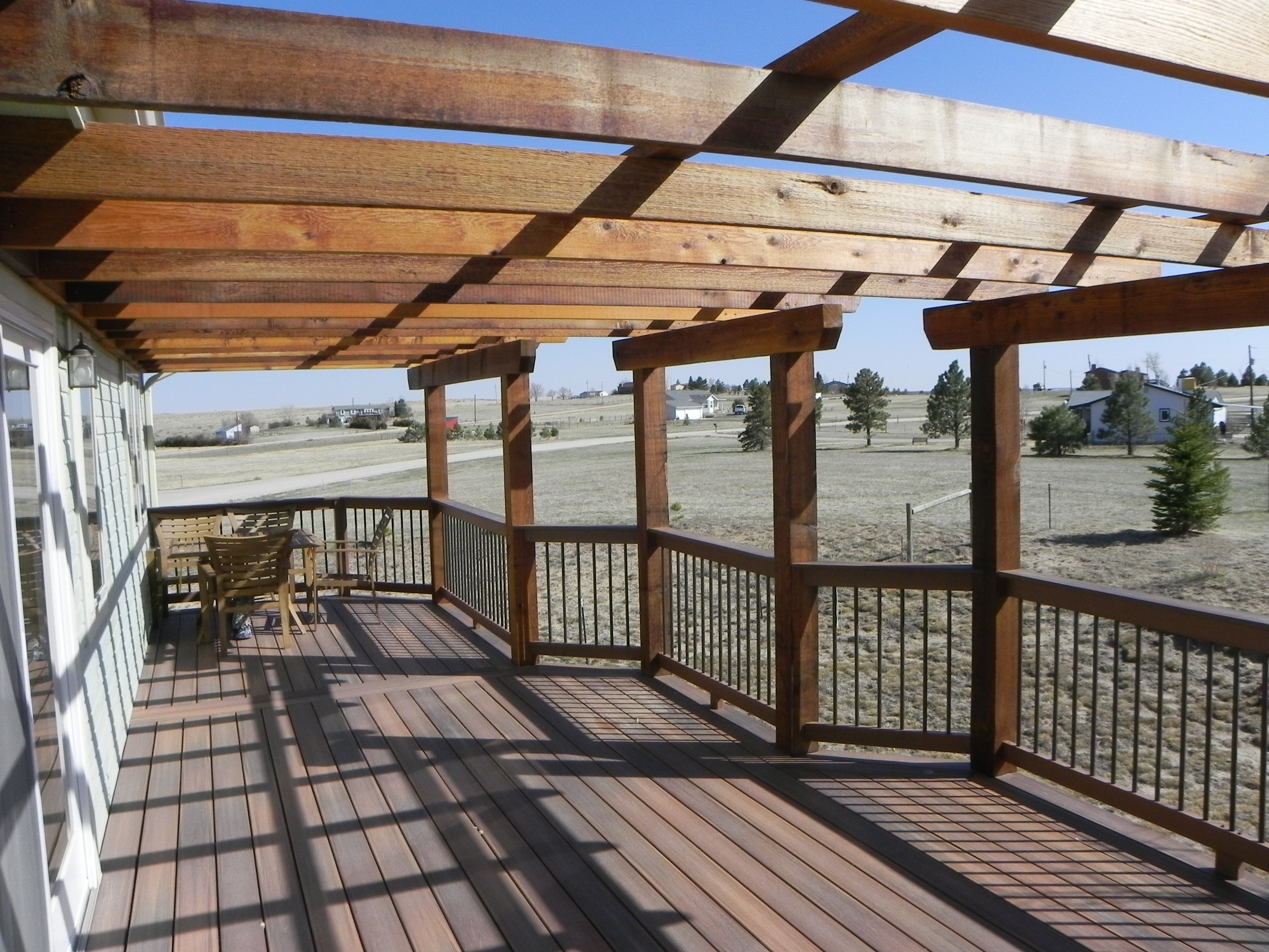 Large Deck With Pergola Craftsman Outdoor Living