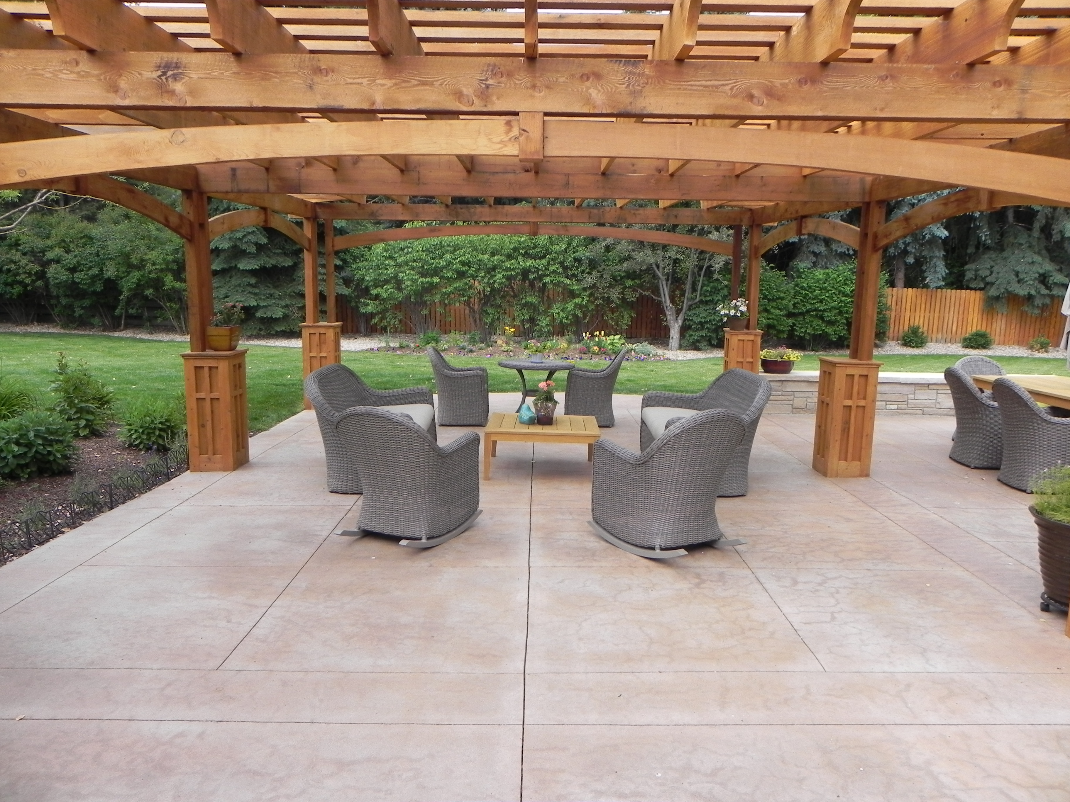 Pergola Over A Stamped Concrete Patio