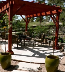 Red stained pergola