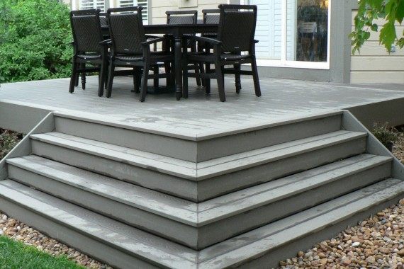 Small composite deck with wrap stairs
