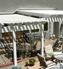 Two-tiered white pergola